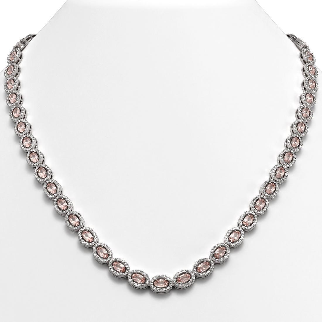 23.48 CTW Morganite & Diamond Halo Necklace 10K White