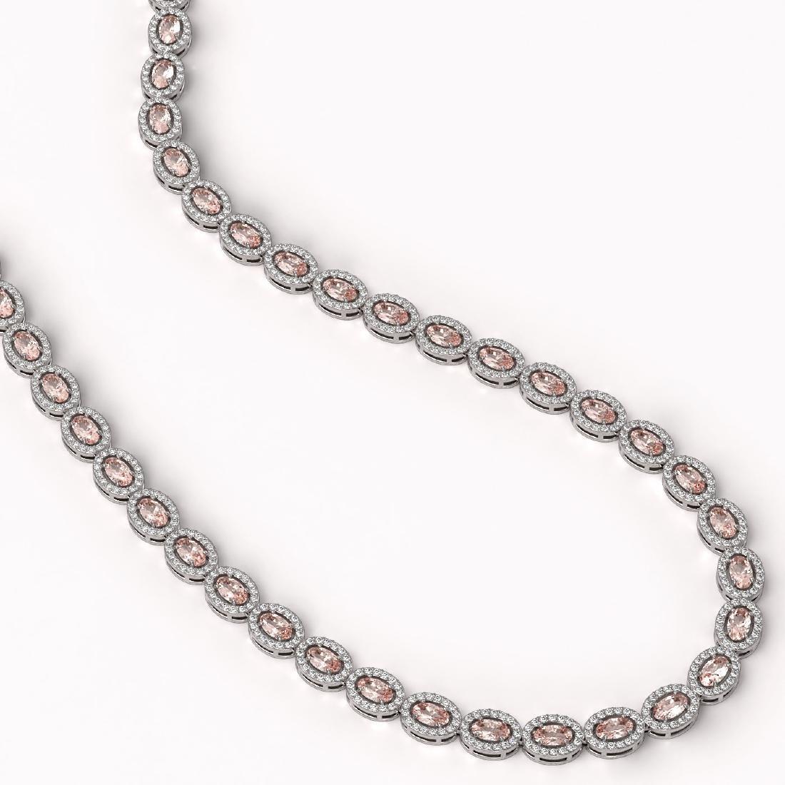 23.48 CTW Morganite & Diamond Halo Necklace 10K White - 2