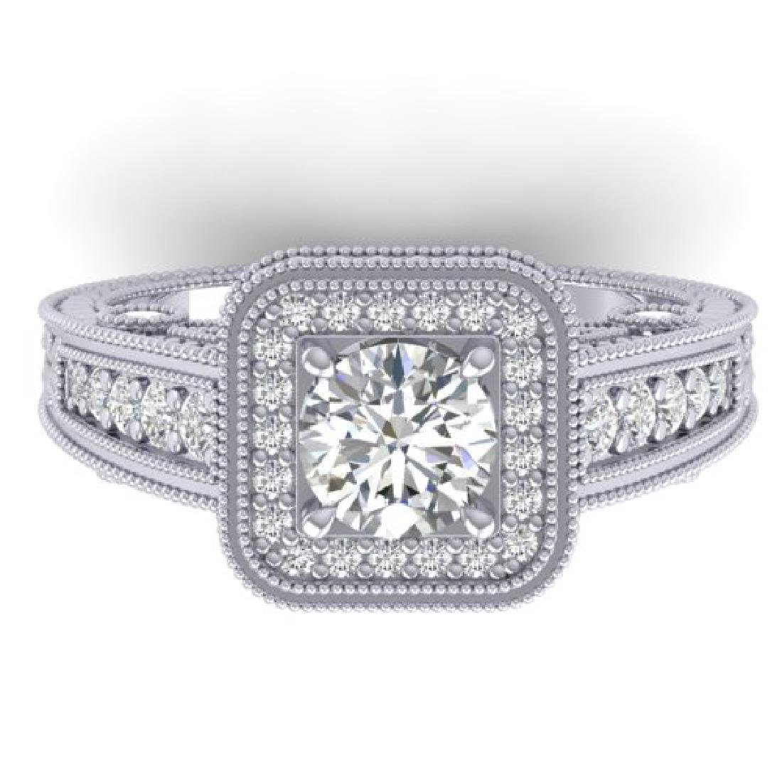 2 CTW Certified VS/SI Diamond Art Deco Halo Ring 18K