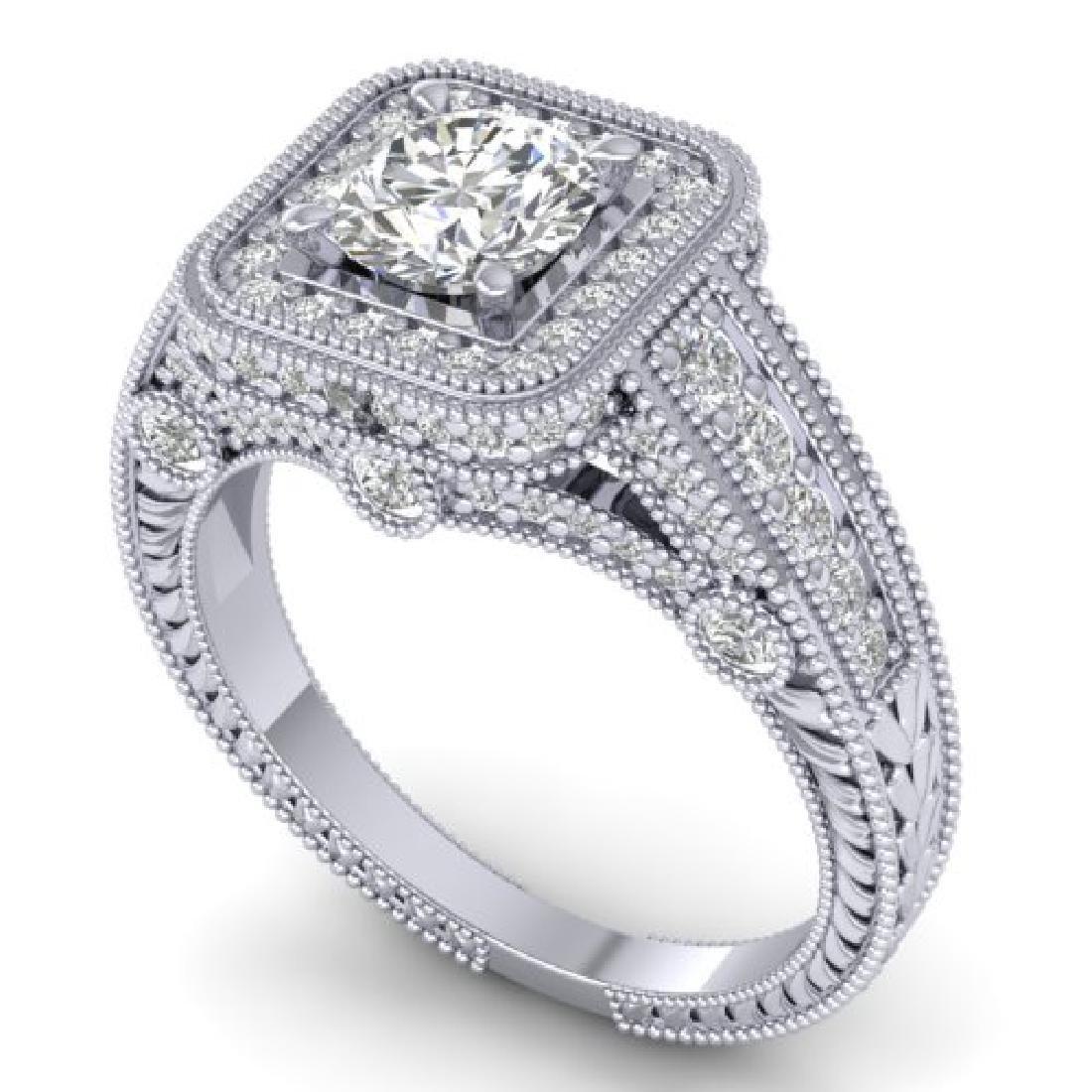 2 CTW Certified VS/SI Diamond Art Deco Halo Ring 18K - 2