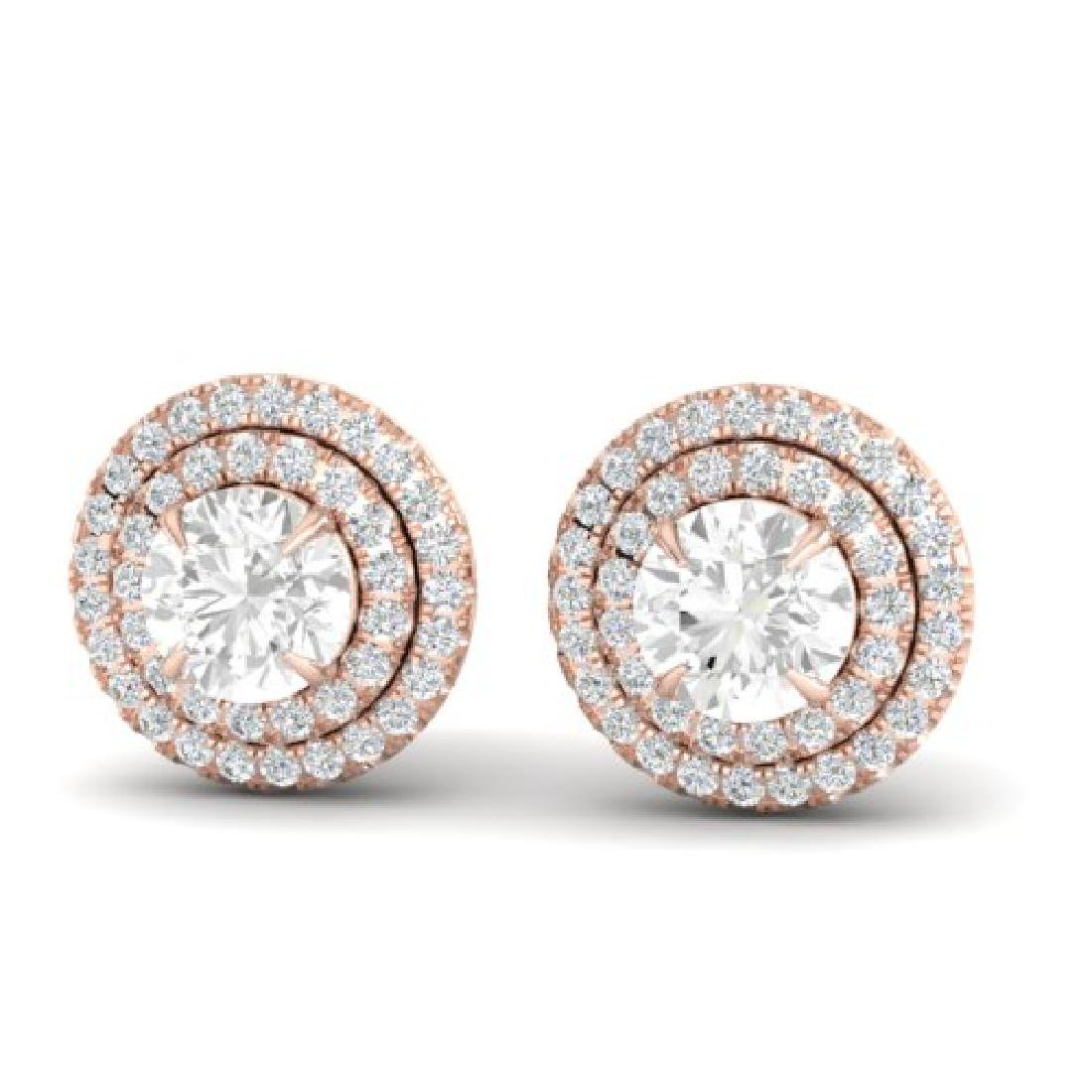 2 CTW Micro Pave VS/SI Diamond Stud Earrings Halo 14K