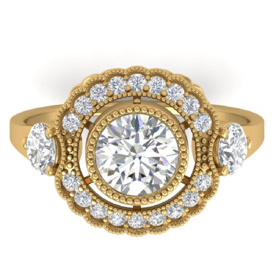 1.9 CTW Certified VS/SI Diamond Art Deco 3 Stone Ring