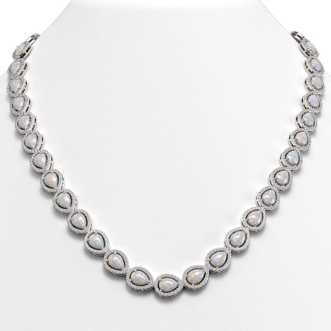 27.93 CTW Opal & Diamond Halo Necklace 10K White Gold