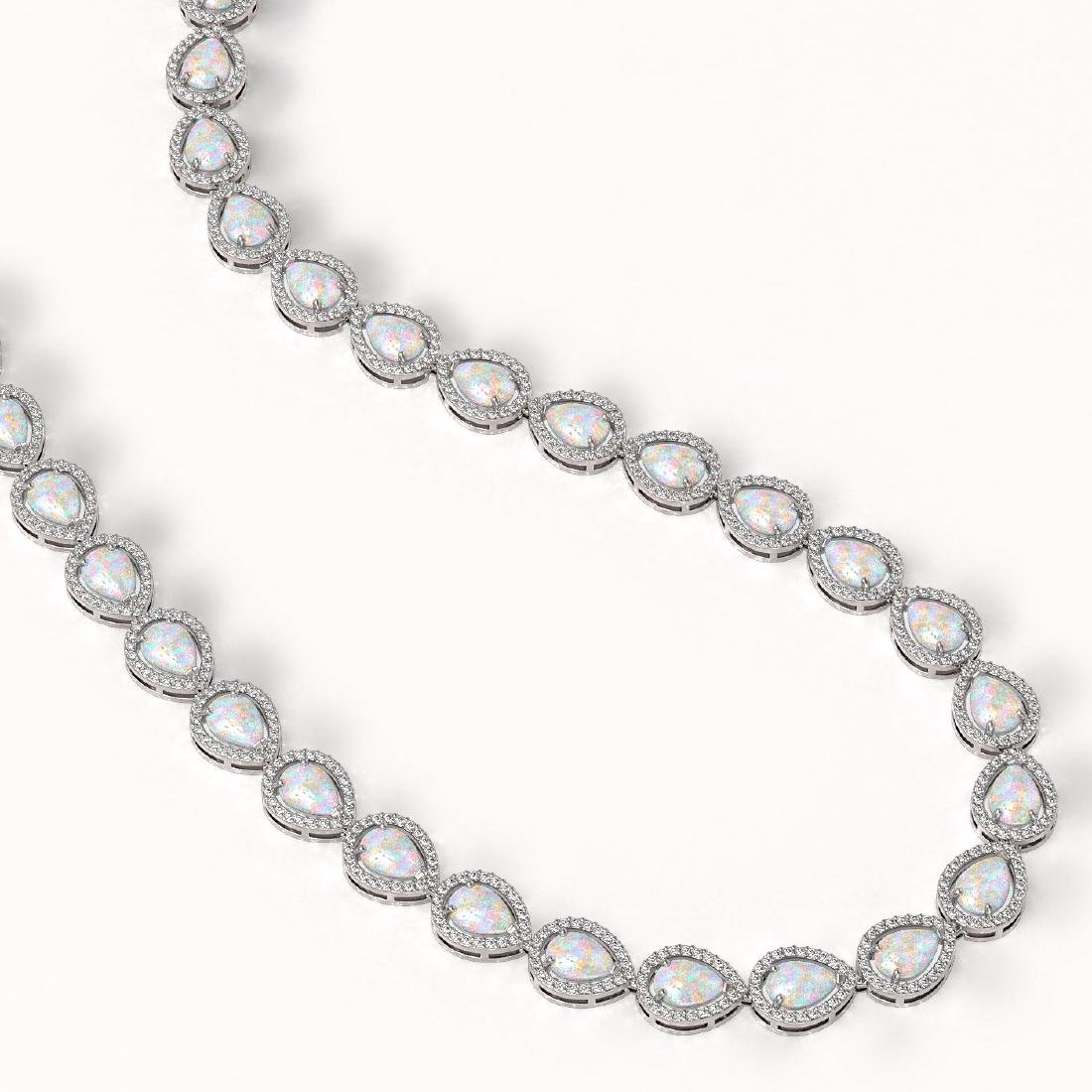 27.93 CTW Opal & Diamond Halo Necklace 10K White Gold - 2