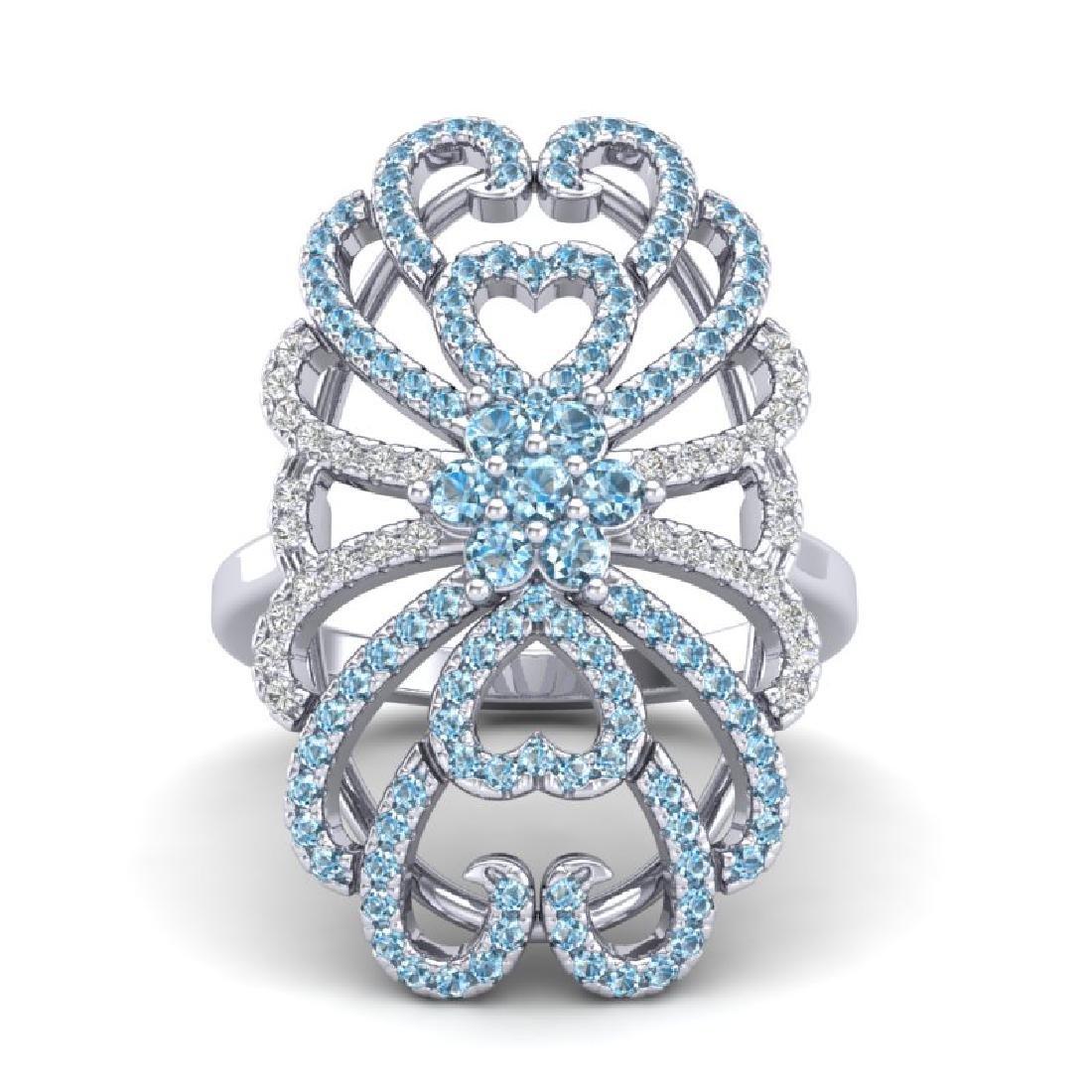 2.25 CTW Micro Pave Blue & White VS/SI Diamond Designer - 2