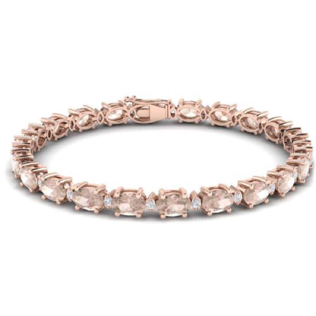 11 CTW Morganite & VS/SI Diamond Eternity Bracelet 10K - 2