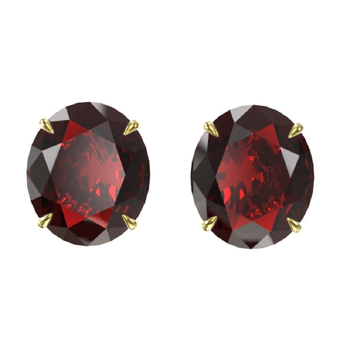 18 CTW Garnet Designer Solitaire Stud Earrings 18K