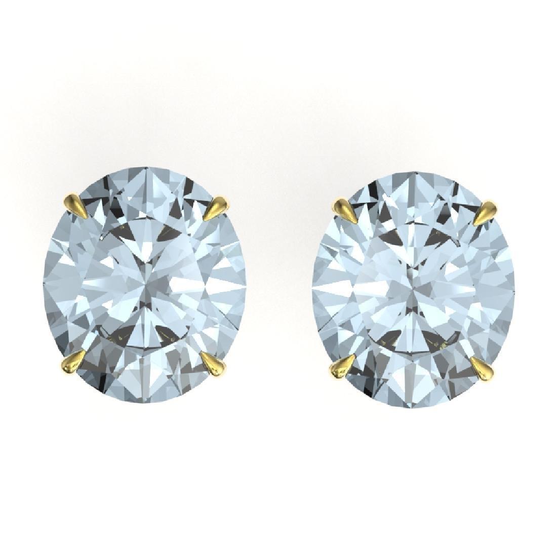 18 CTW Aquamarine Designer Solitaire Stud Earrings 18K