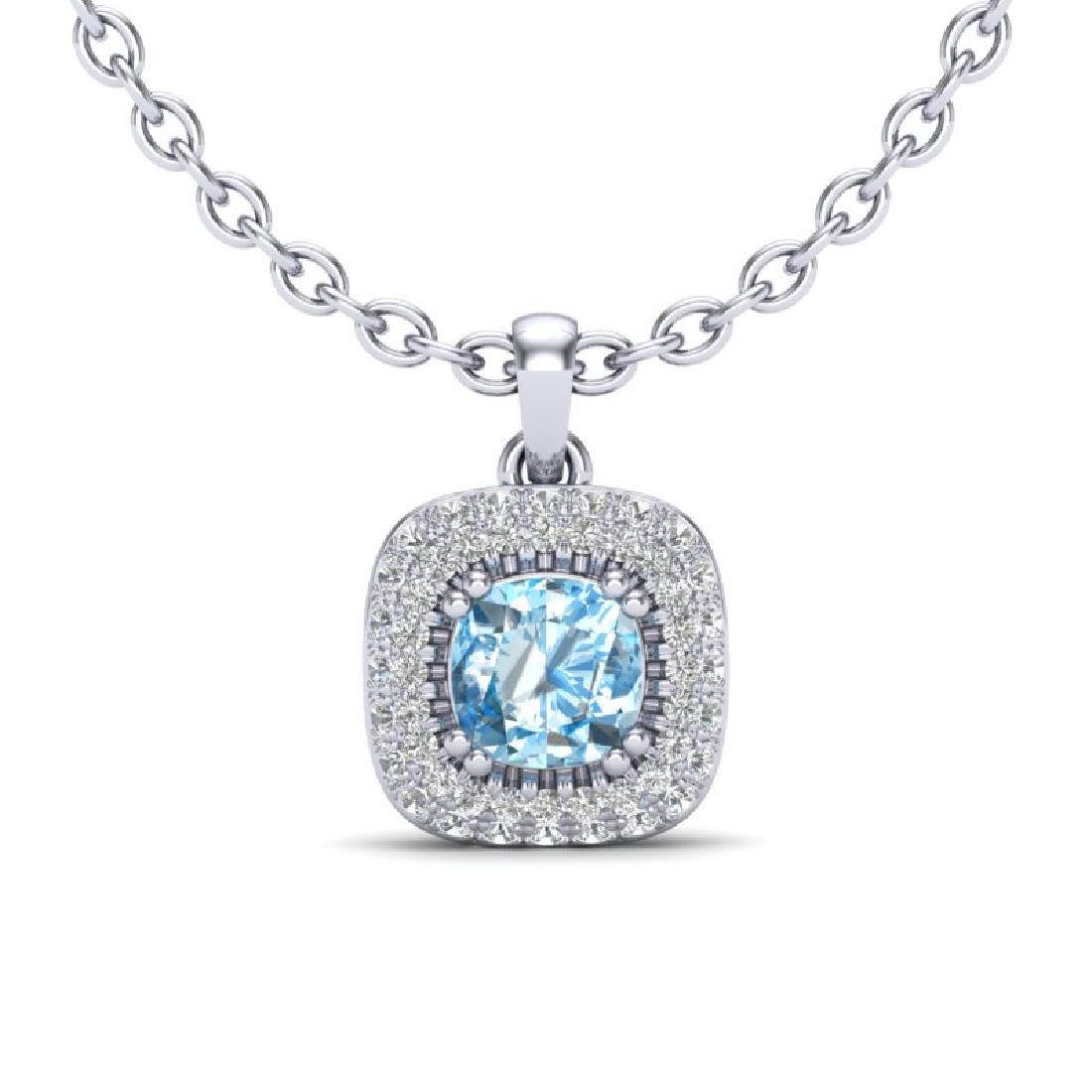 1.08 CTW Sky Blue Topaz & Micro VS/SI Diamond Necklace