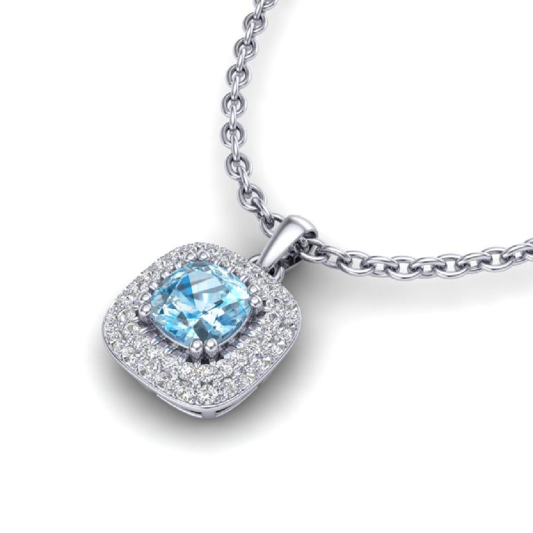1.08 CTW Sky Blue Topaz & Micro VS/SI Diamond Necklace - 2