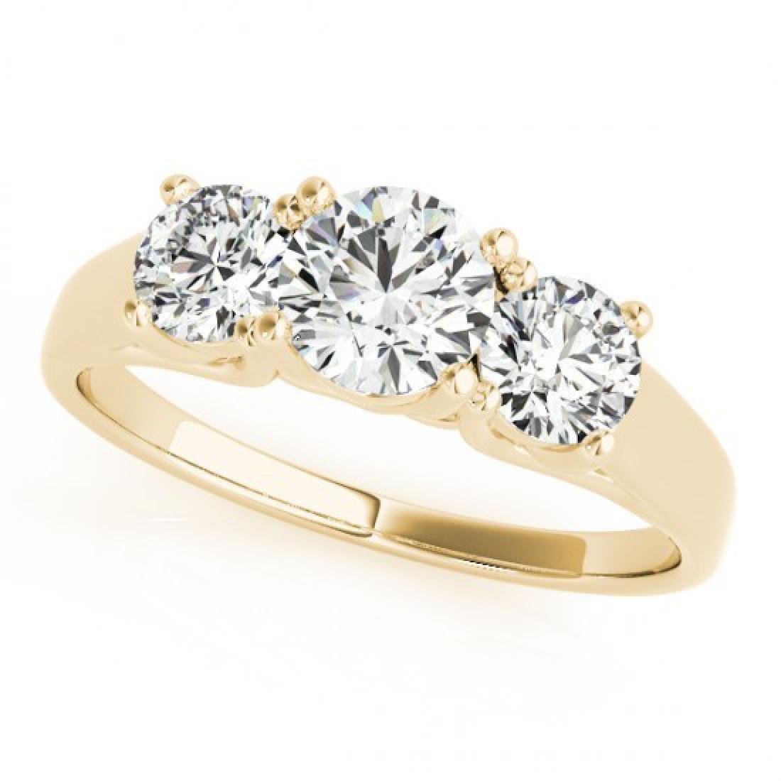 1.3 CTW Certified VS/SI Diamond 3 Stone Ring 14K Yellow