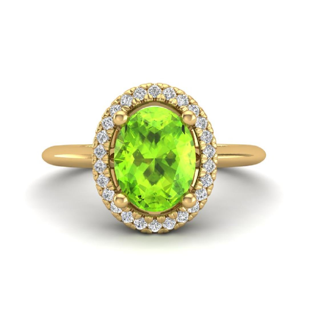 1.75 CTW Peridot & Micro VS/SI Diamond Ring Solitaire