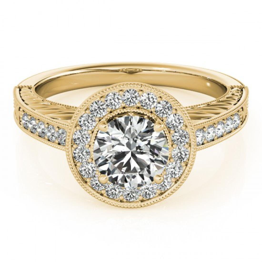 0.81 CTW Certified VS/SI Diamond Solitaire Halo Ring