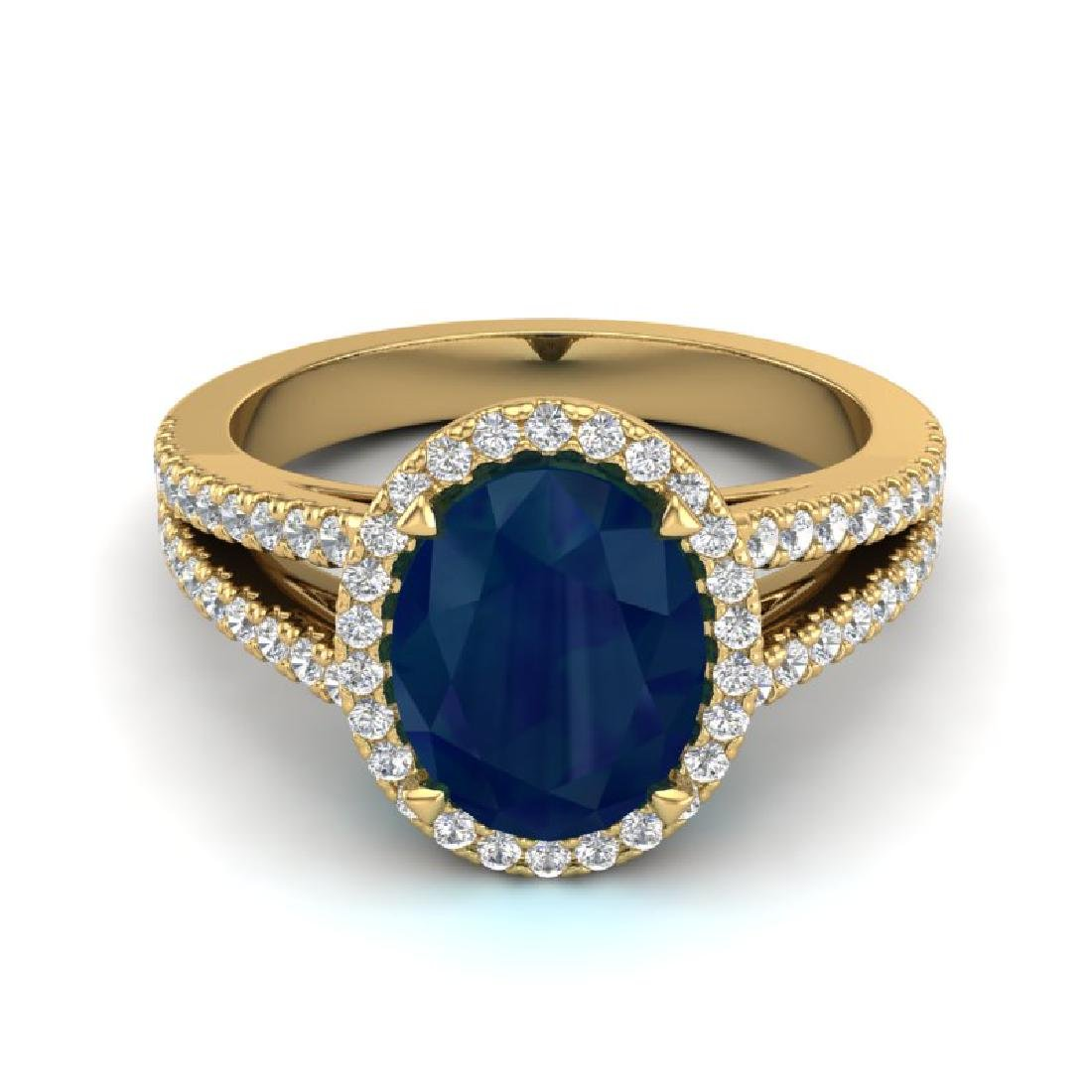 3 CTW Sapphire & Micro Pave VS/SI Diamond Halo Ring 18K