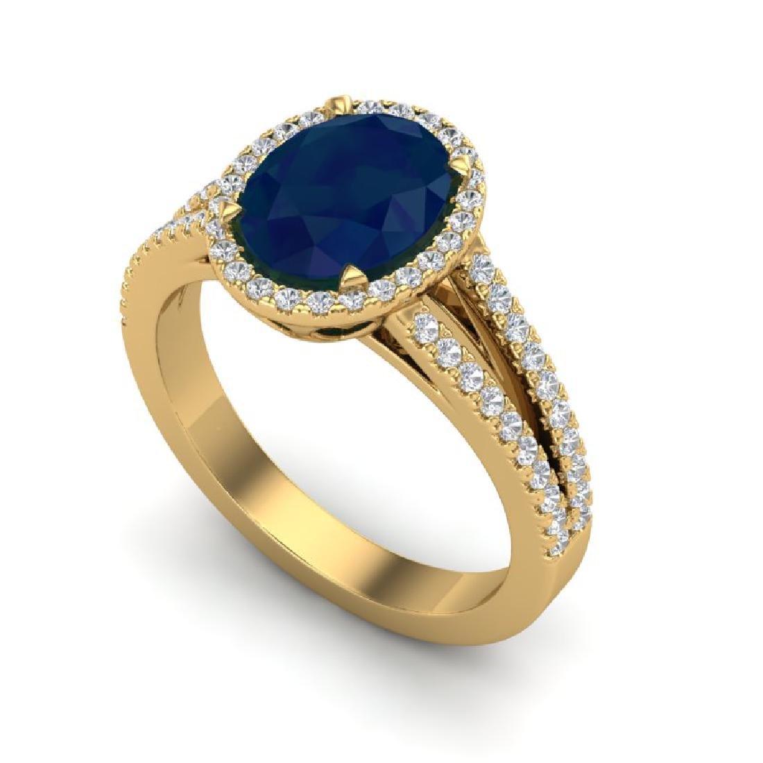 3 CTW Sapphire & Micro Pave VS/SI Diamond Halo Ring 18K - 2