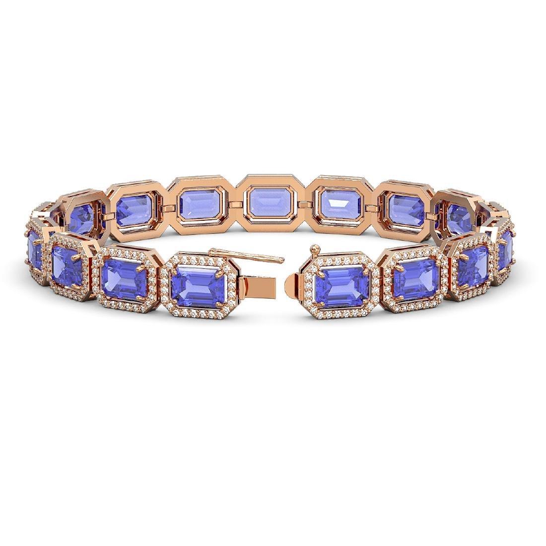25.36 CTW Tanzanite & Diamond Halo Bracelet 10K Rose - 2