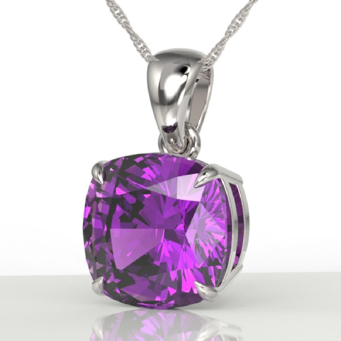 6 CTW Cushion Cut Amethyst Designer Solitaire Necklace