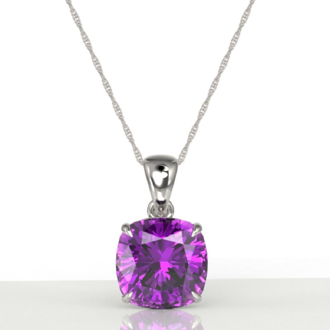6 CTW Cushion Cut Amethyst Designer Solitaire Necklace - 2