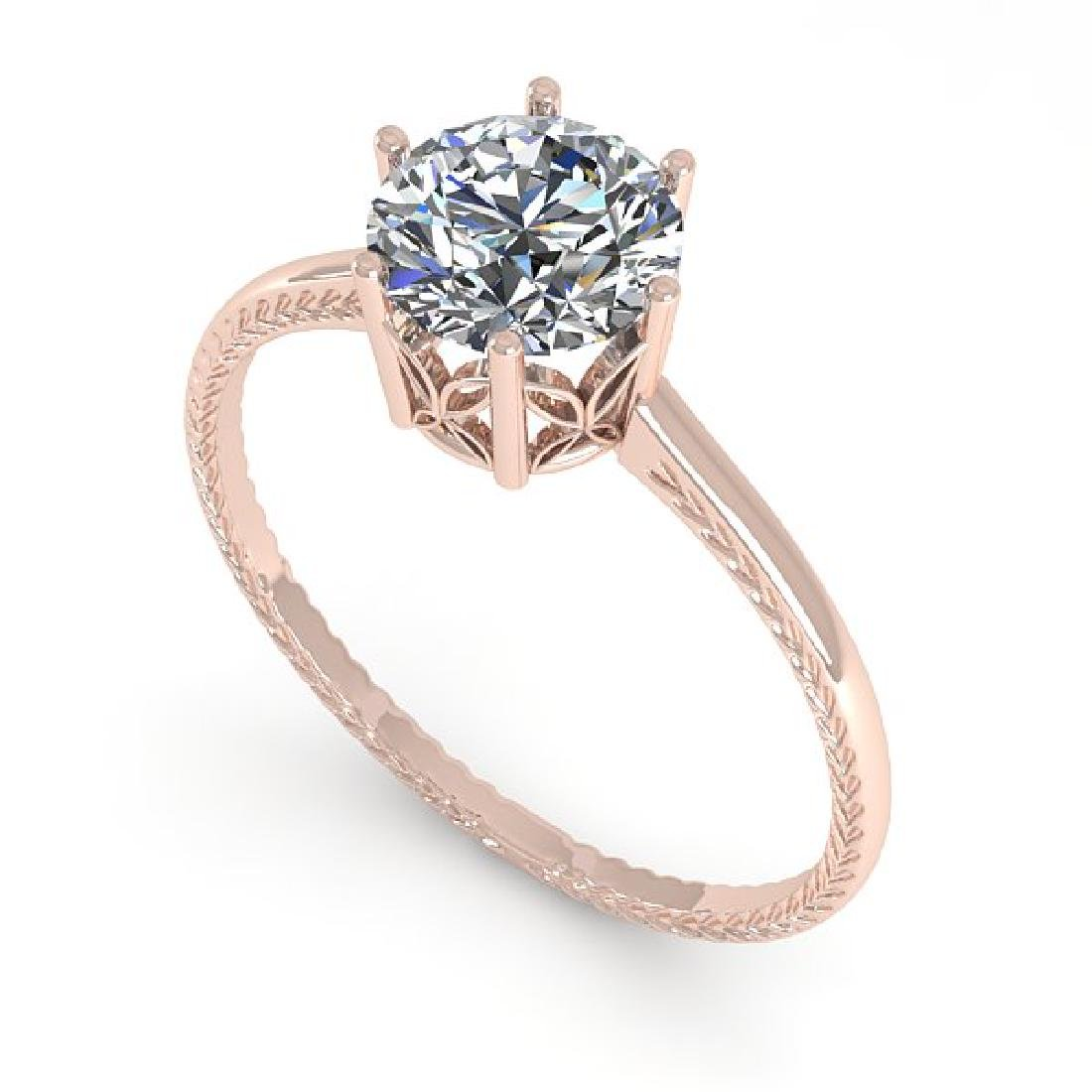 1.01 CTW VS/SI Diamond Art Deco Ring 14K Rose Gold - 2