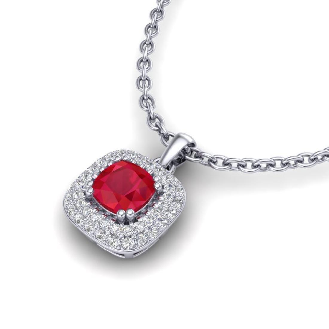 1.08 CTW Ruby & Micro VS/SI Diamond Necklace Halo 18K - 2