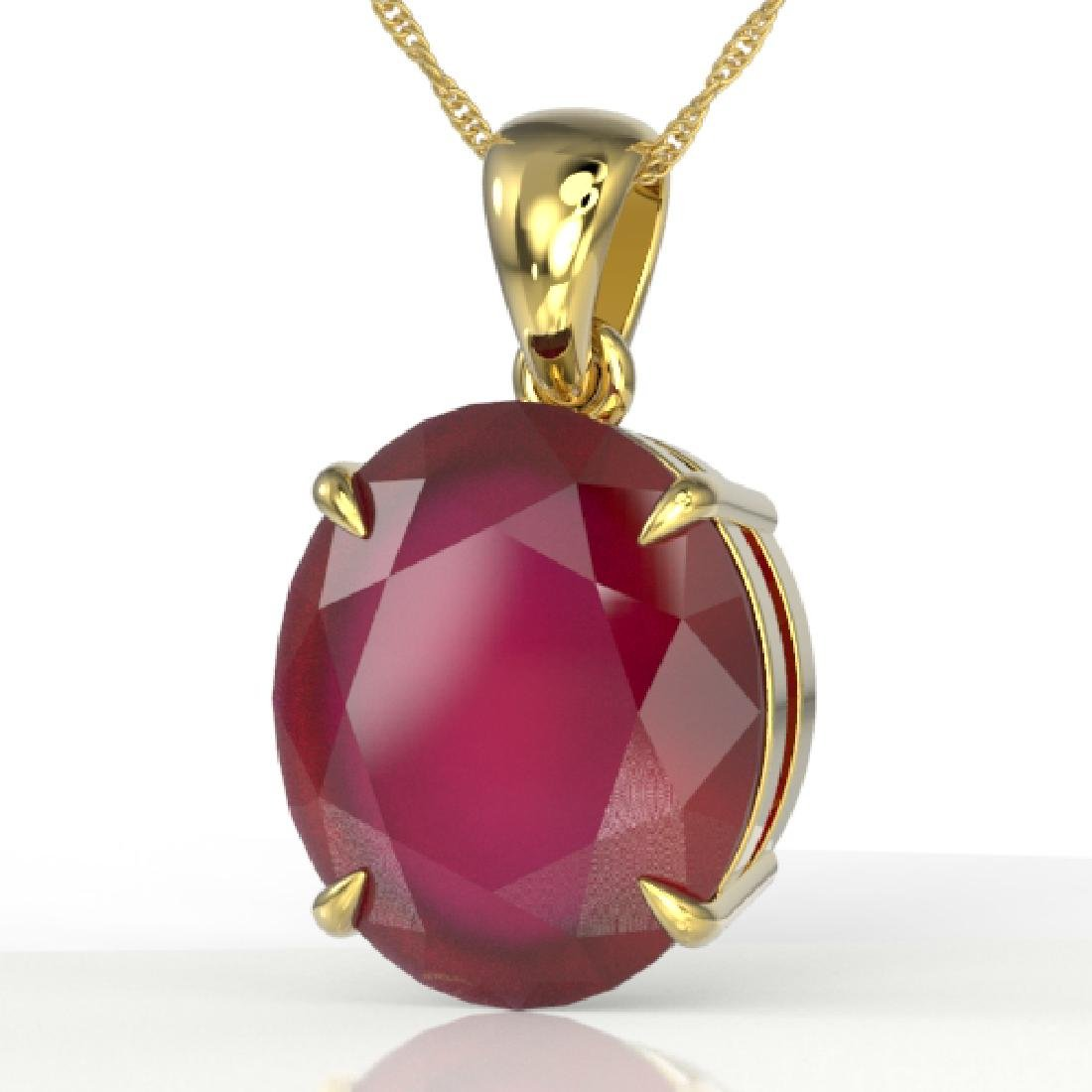 9 CTW Ruby Designer Solitaire Necklace 18K Yellow Gold