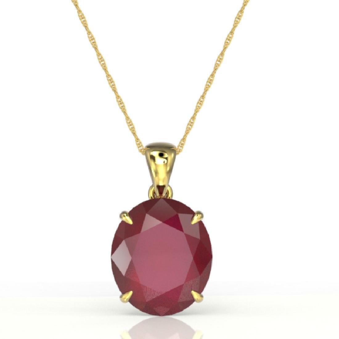 9 CTW Ruby Designer Solitaire Necklace 18K Yellow Gold - 2