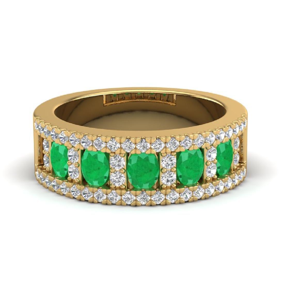 2.34 CTW Emerald & Micro Pave VS/SI Diamond Designer B&