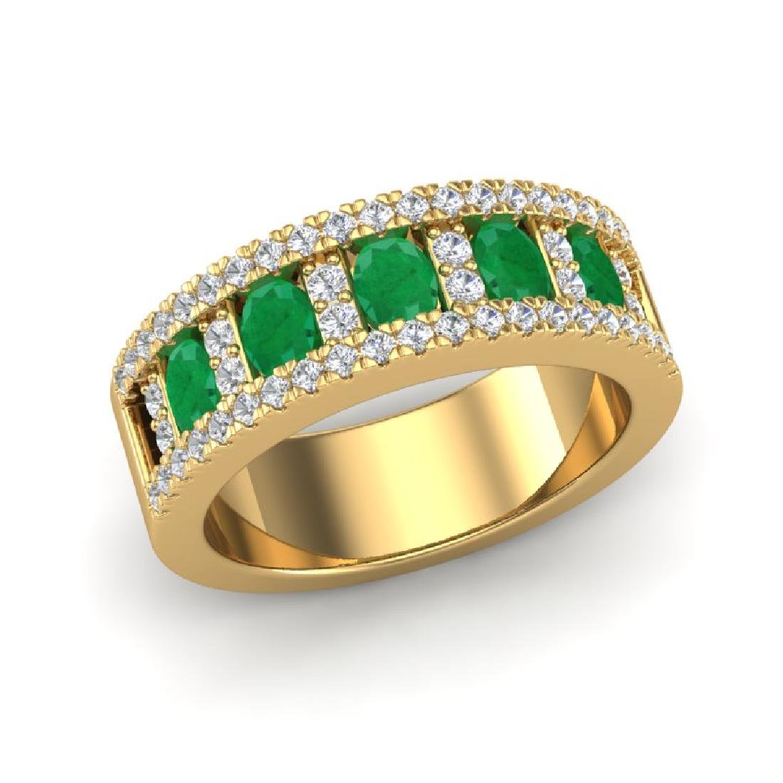2.34 CTW Emerald & Micro Pave VS/SI Diamond Designer B& - 2