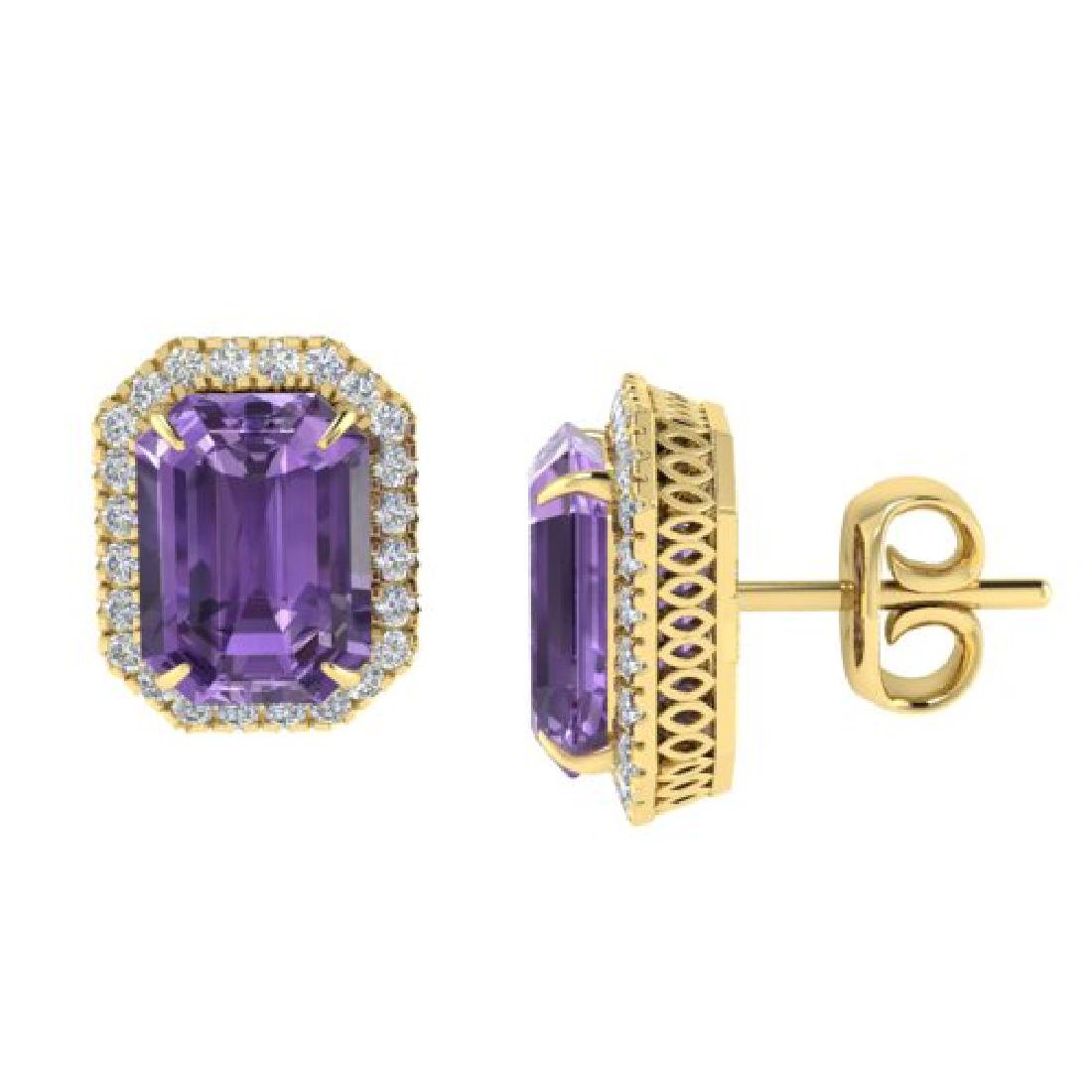 9.40 CTW Amethyst & Micro Pave VS/SI Diamond Halo - 2
