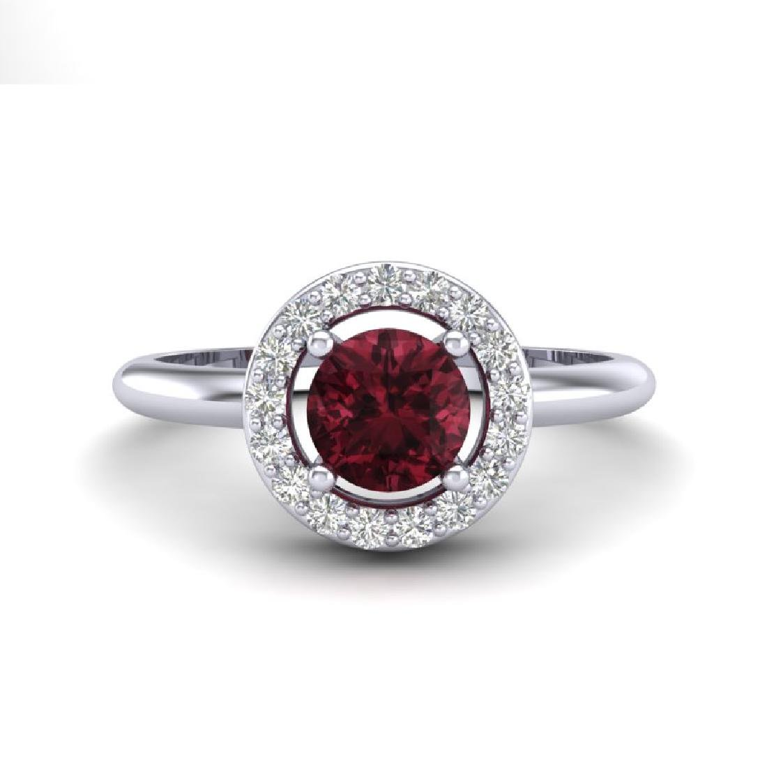 0.75 CTW Garnet & Micro Halo VS/SI Diamond Ring 18K