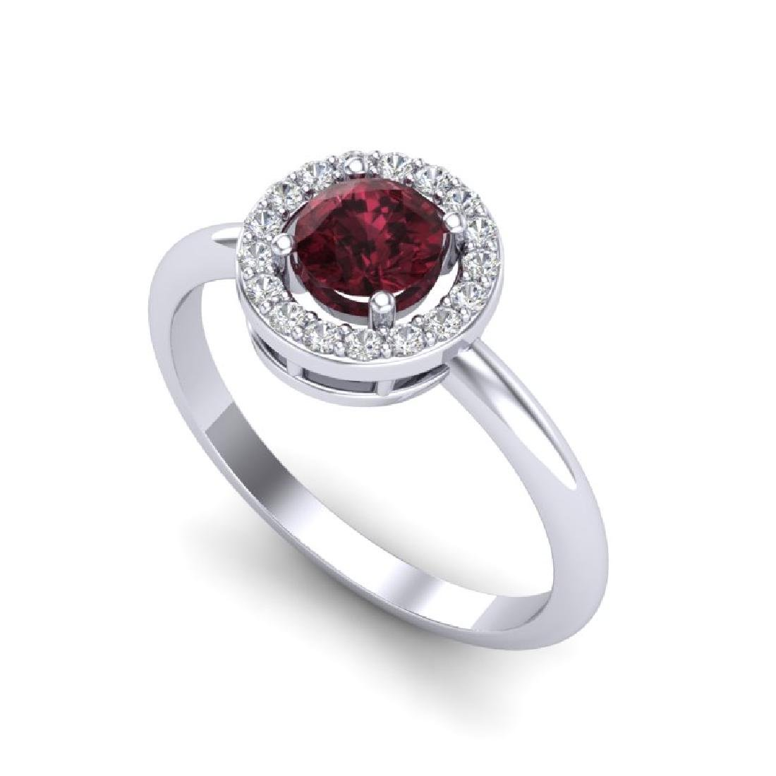 0.75 CTW Garnet & Micro Halo VS/SI Diamond Ring 18K - 2