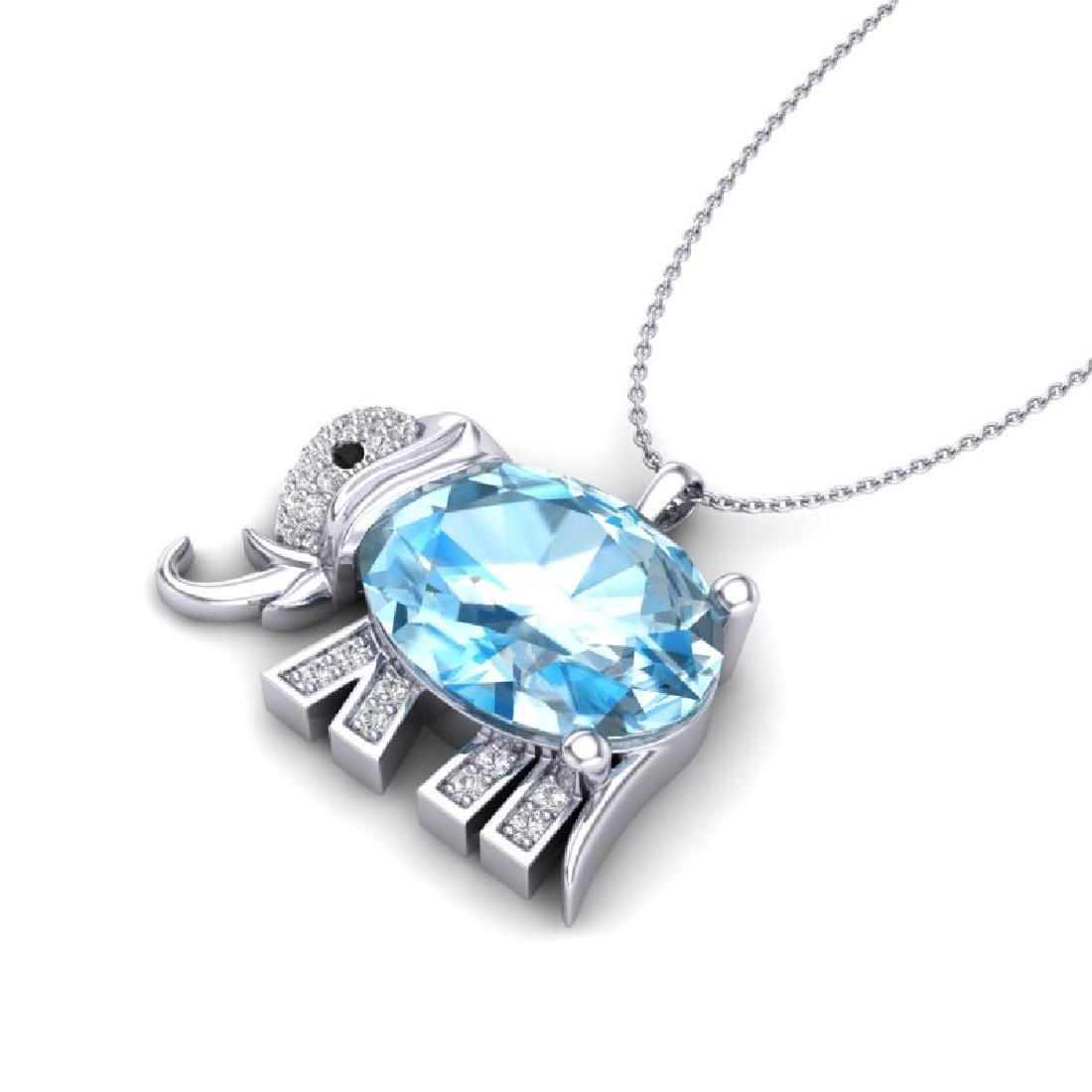 8 CTW Sky Blue Topaz & Micro Pave Necklace 10K White