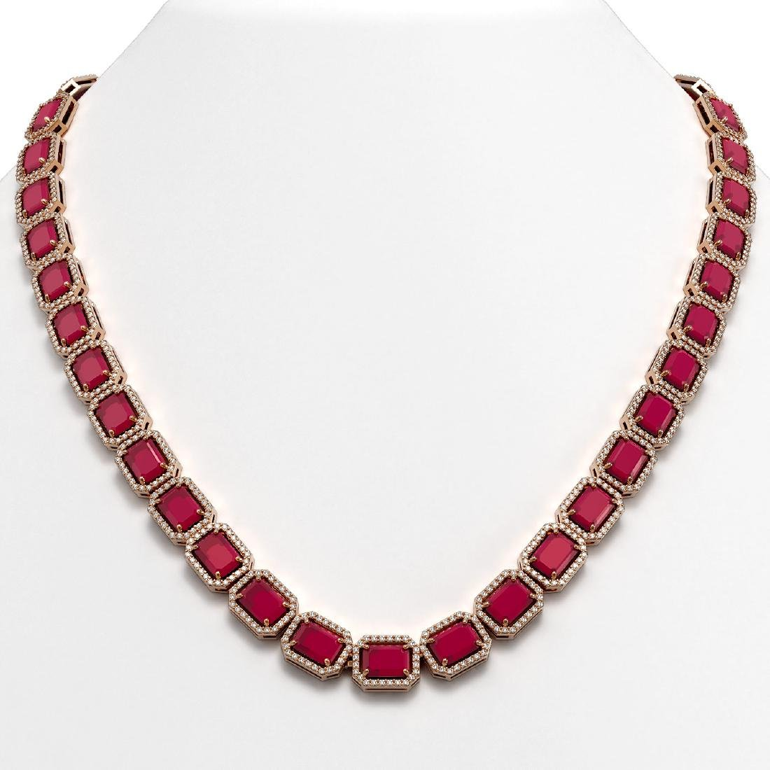 58.59 CTW Ruby & Diamond Halo Necklace 10K Rose Gold
