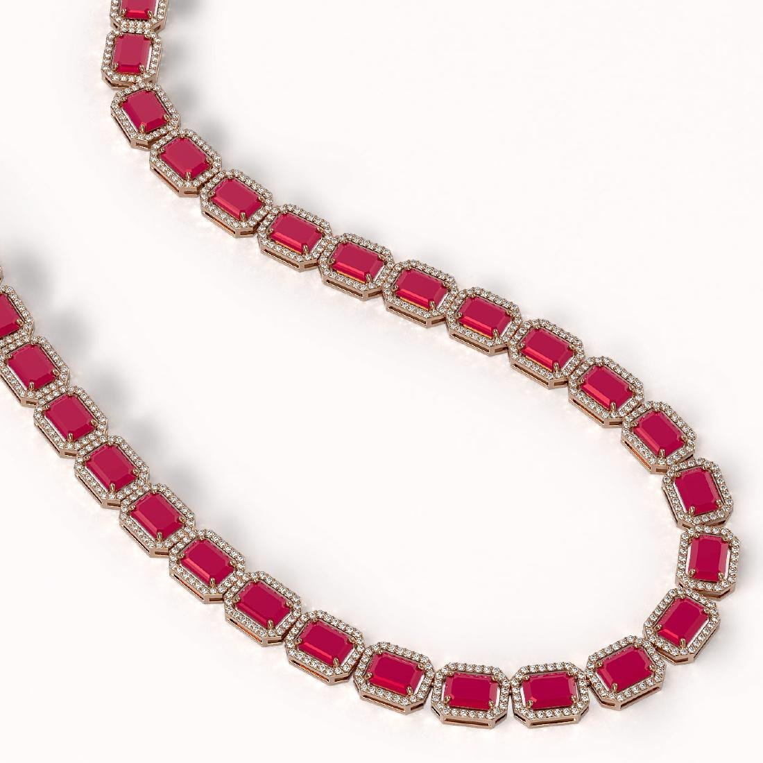 58.59 CTW Ruby & Diamond Halo Necklace 10K Rose Gold - 2