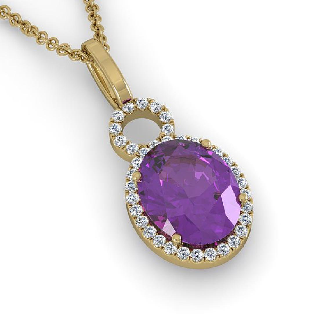 3 CTW Amethyst & Micro Pave Halo VS/SI Diamond Necklace