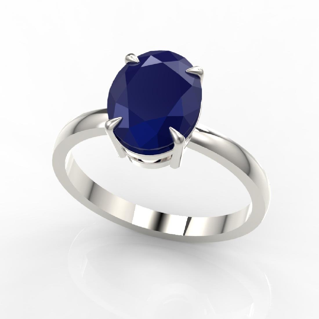 3.50 CTW Sapphire Designer Inspired Solitaire Ring 18K - 2