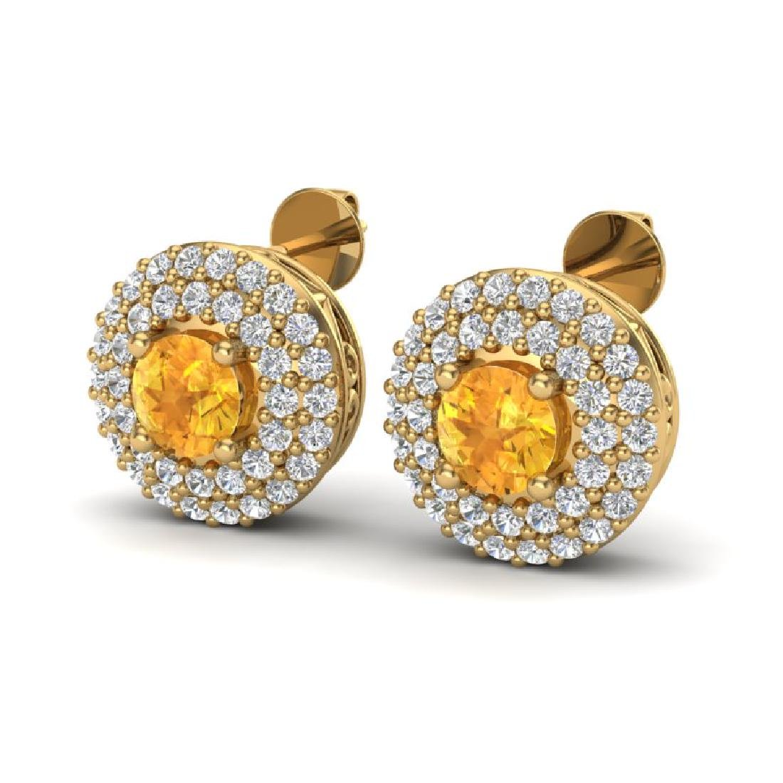 1.25 CTW Citrine & Micro Pave VS/SI Diamond Earrings