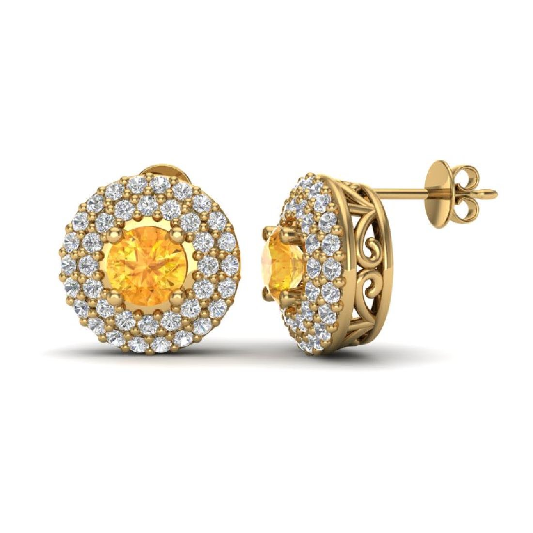 1.25 CTW Citrine & Micro Pave VS/SI Diamond Earrings - 2
