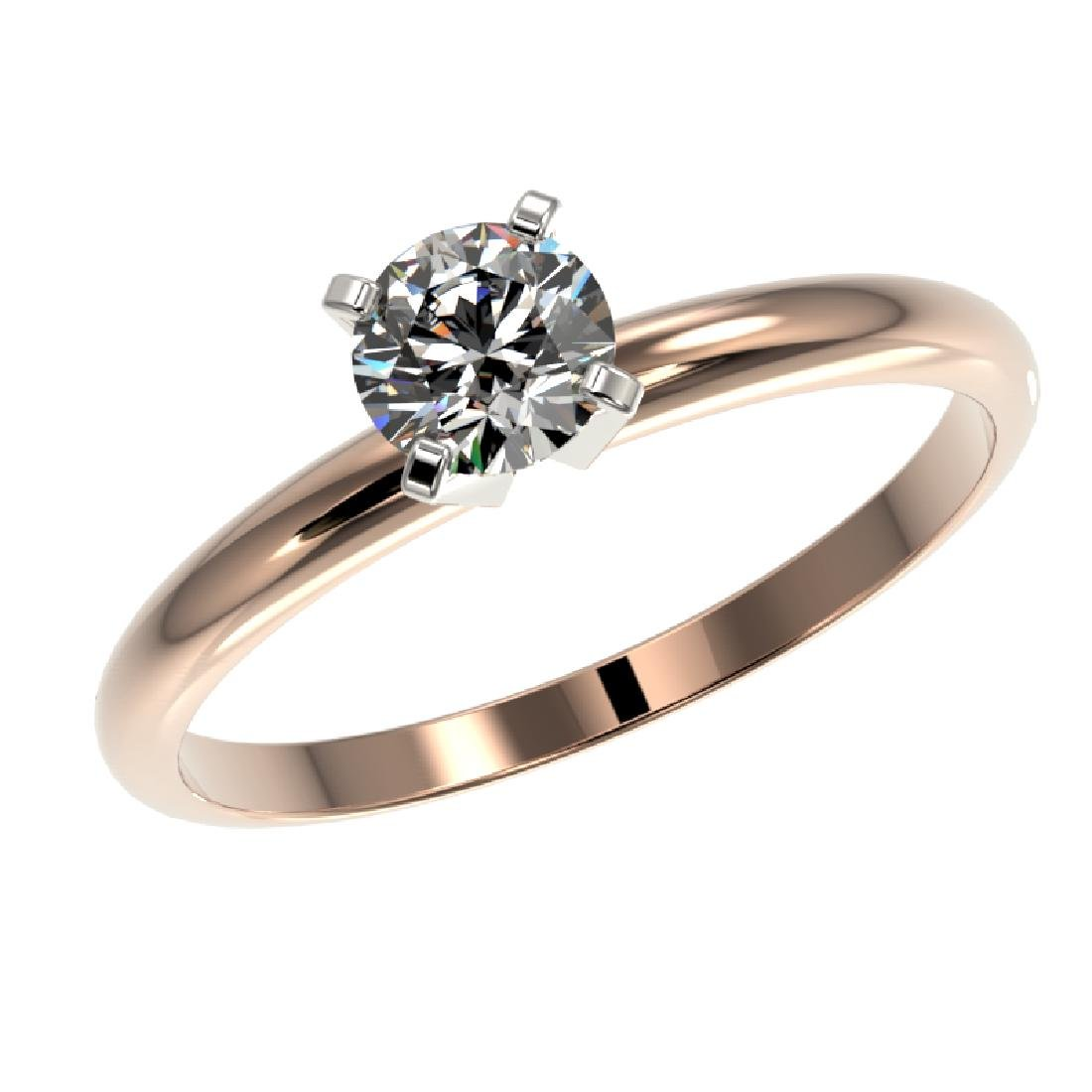 0.52 CTW Certified H-SI/I Quality Diamond Solitaire - 2