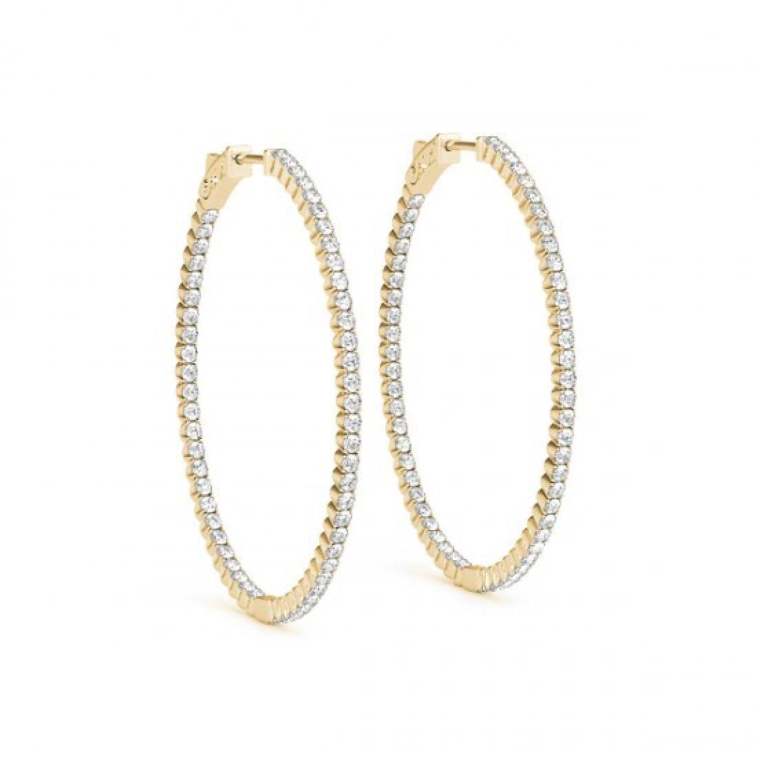 2 CTW Diamond VS/SI Certified 28 Mm Hoop Earrings 14K - 2