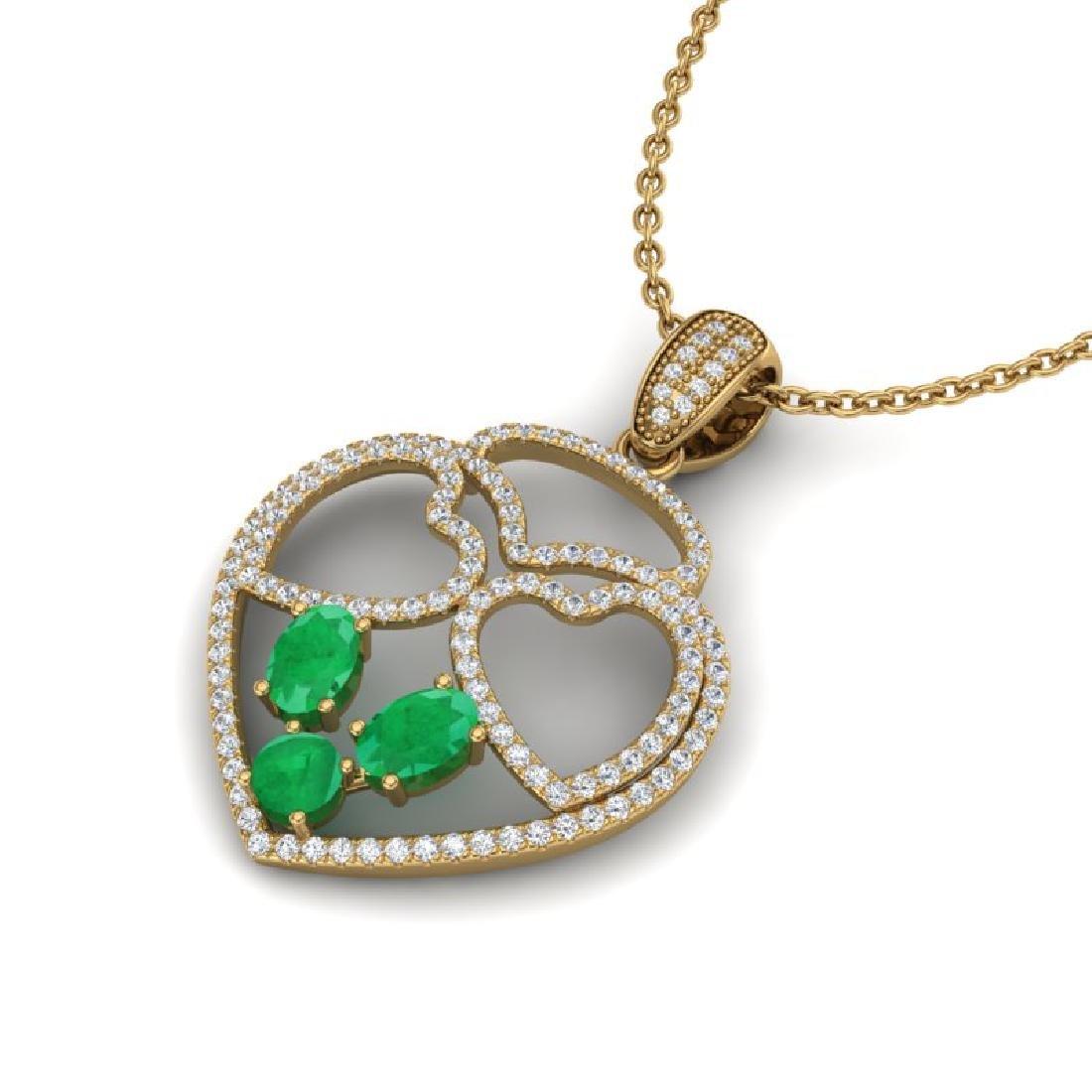 3 CTW Emerald & Micro Pave Designer Inspired Heart
