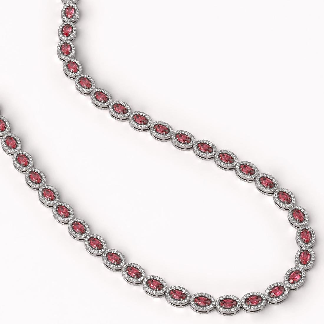 23.57 CTW Tourmaline & Diamond Halo Necklace 10K White - 2