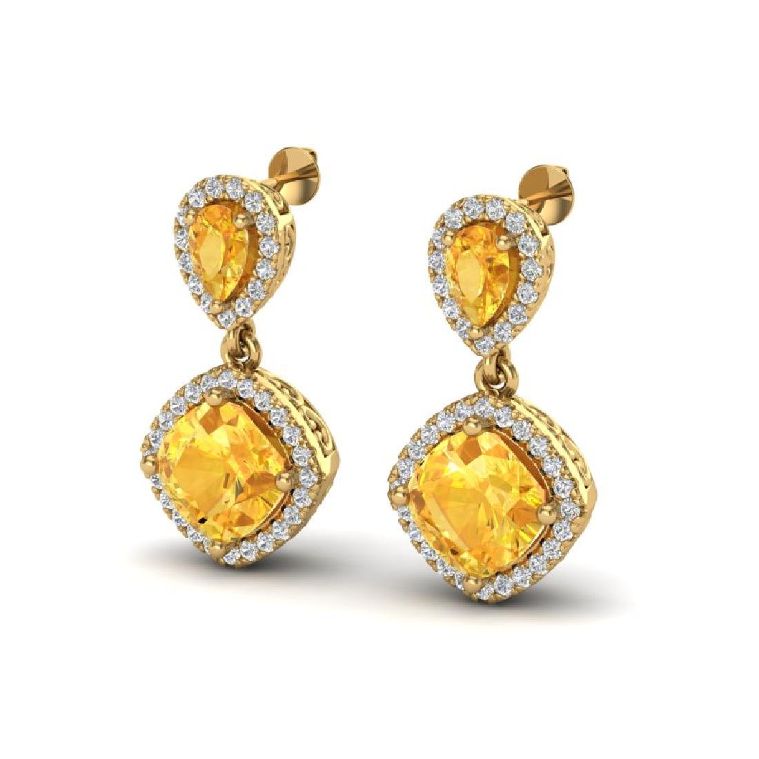 5 CTW Citrine & Micro Pave VS/SI Diamond Earrings