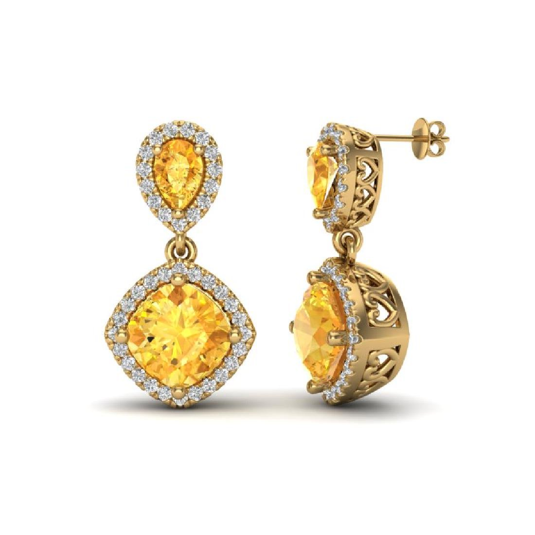 5 CTW Citrine & Micro Pave VS/SI Diamond Earrings - 2