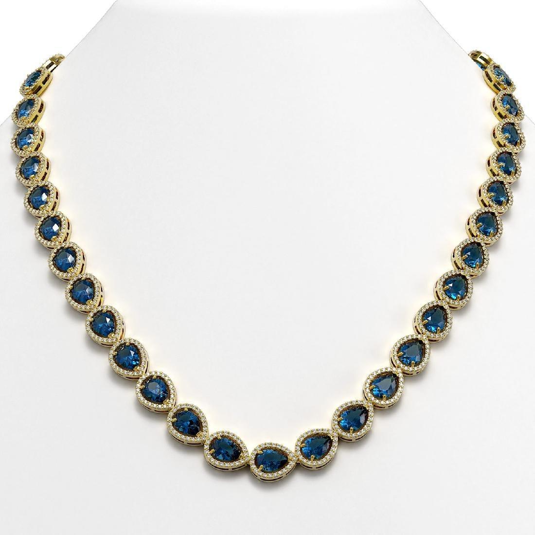 35.13 CTW London Topaz & Diamond Halo Necklace 10K