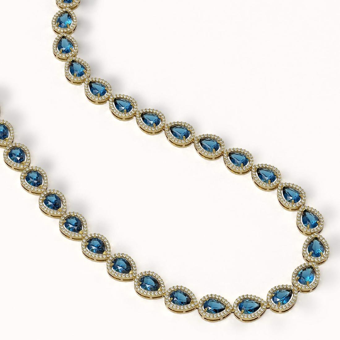 35.13 CTW London Topaz & Diamond Halo Necklace 10K - 2