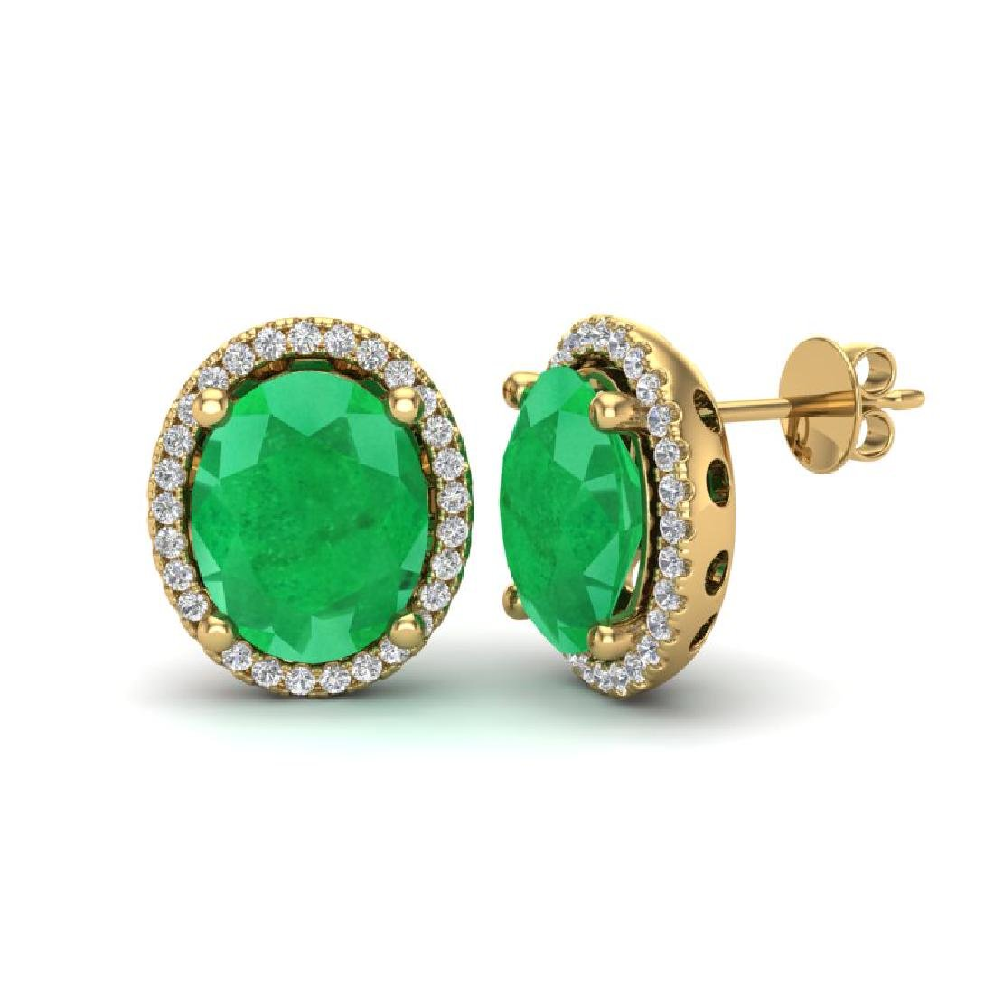 6 CTW Emerald & Micro Pave VS/SI Diamond Earrings Halo - 2