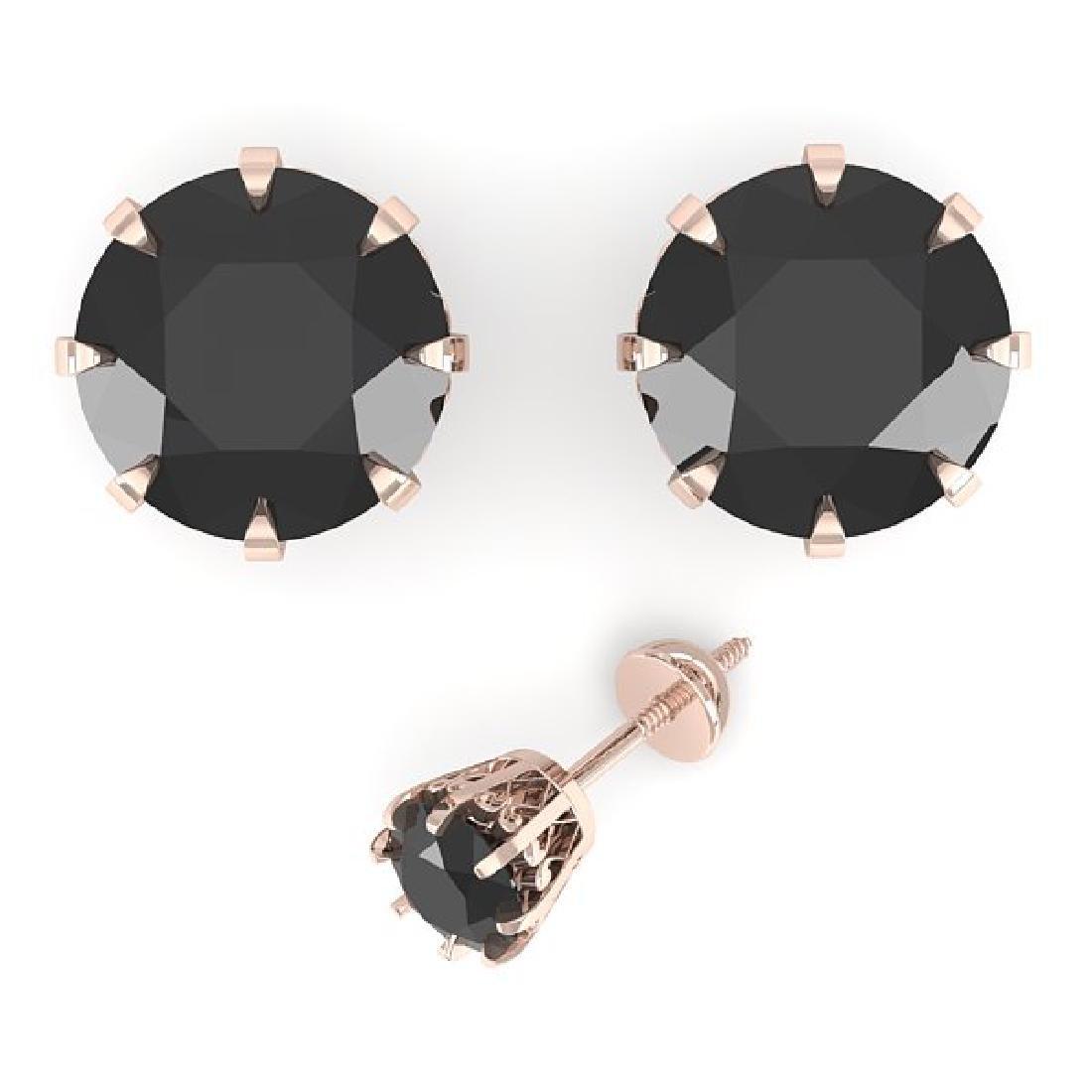 2.0 CTW Black Diamond Stud Solitaire Earrings 14K Rose - 2