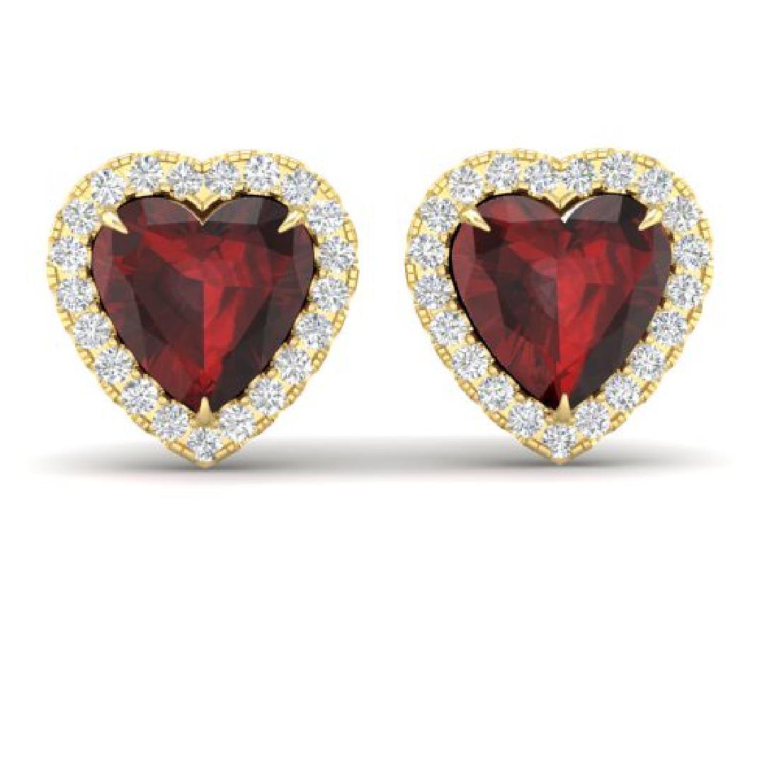 2.22 CTW Garnet & Micro Pave VS/SI Diamond Earrings
