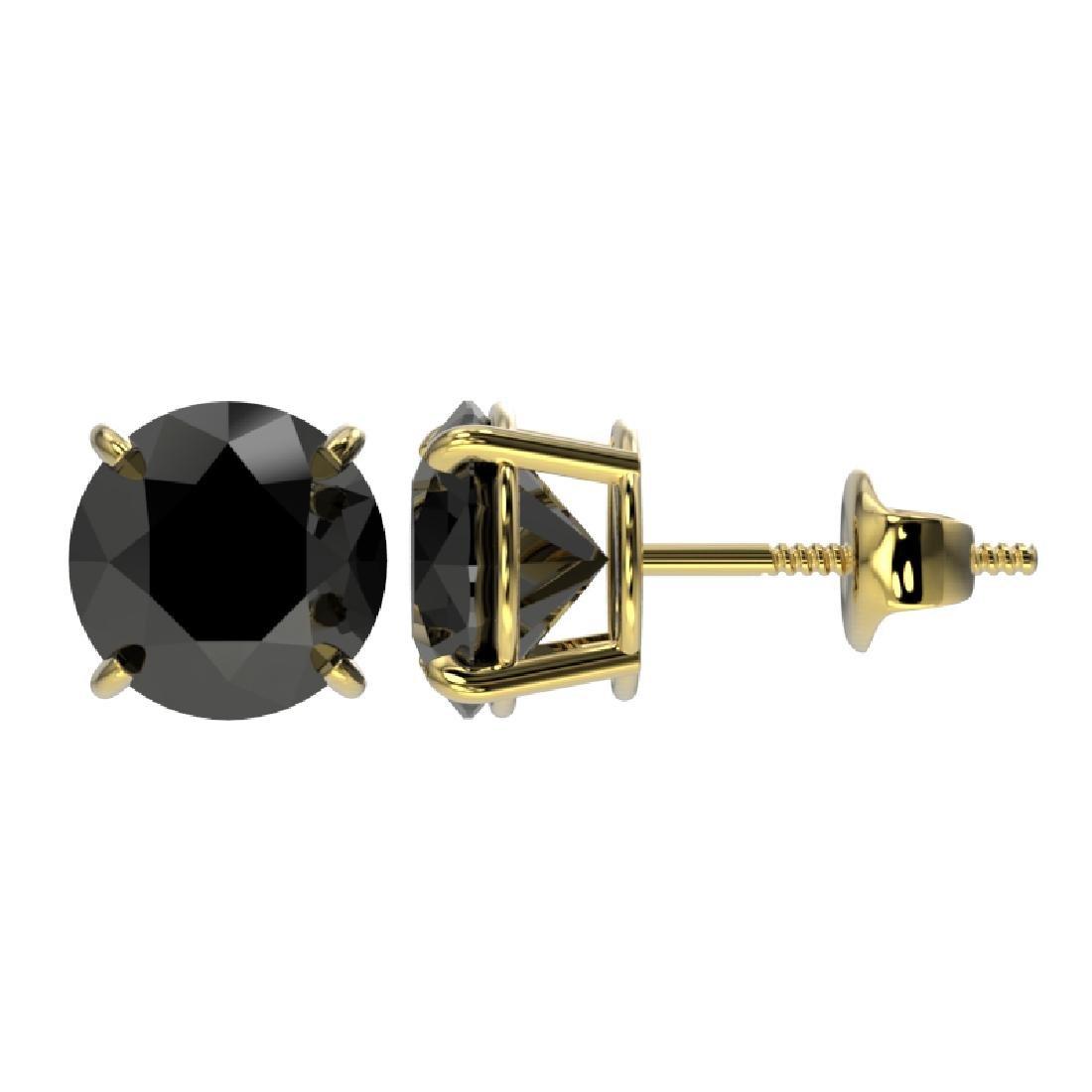 2.50 CTW Fancy Black VS Diamond Solitaire Stud Earrings - 2
